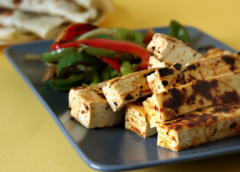 Tofu Fajitas - Chipotle flavored tofu, served with sauteed peppers and tortilla