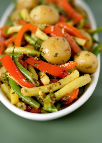 Warm summer vegetable with lemon mustard vinaigrette