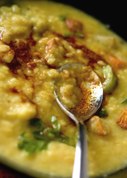Roasted root vegetables and dal soup
