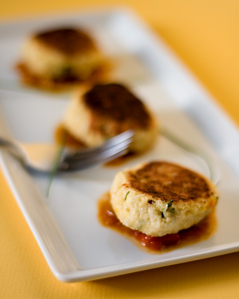Cashew, coconut and tofu croquettes, served over tangy tamarind sauce