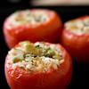 Bulgur stuffed tomatoes, seasoned with Mediterranean flavors