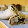 Coconut tofu wraps - Vegan wraps with coconut flavored tofu, sauteed swiss chard and saffron basmati rice