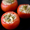 Bulgur stuffed tomatoes, seasoned with Mediterranean flavors