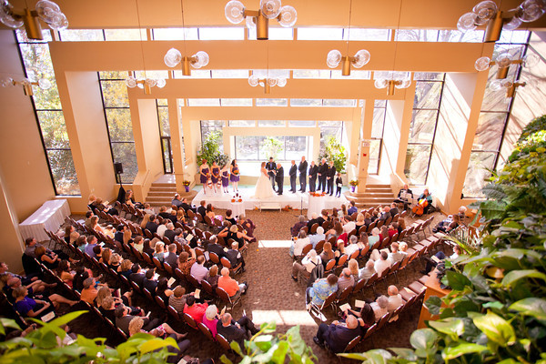 magestic wide view of fall wedding at the Clock Tower in Rockford, IL