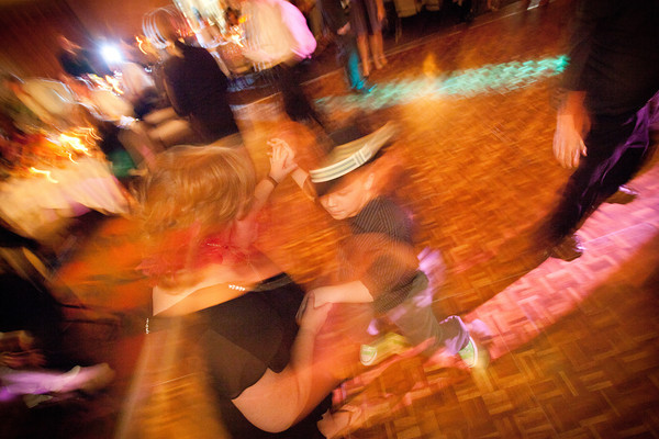 party time during a fall wedding reception at the Clock Tower in Rockford, IL