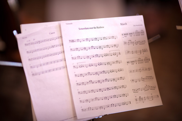 sheet music, somewhere over the rainbow, at  a fall wedding at the Clock Tower in Rockford, IL
