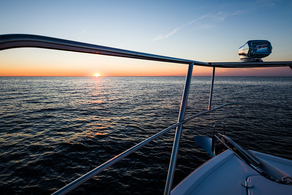 Bow rails at sunset.