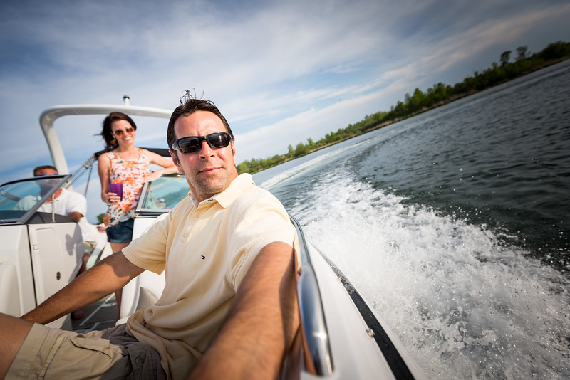 Couple enjoying fast boat turn.