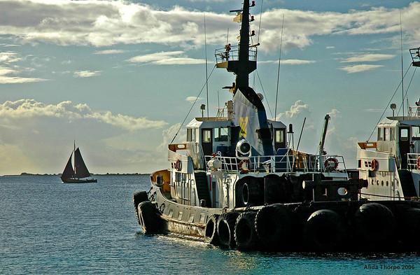 Tug boat in the Caribbean, Bonaire