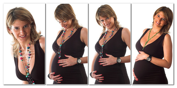 beautiful blond pregnant woman composition studio portrait