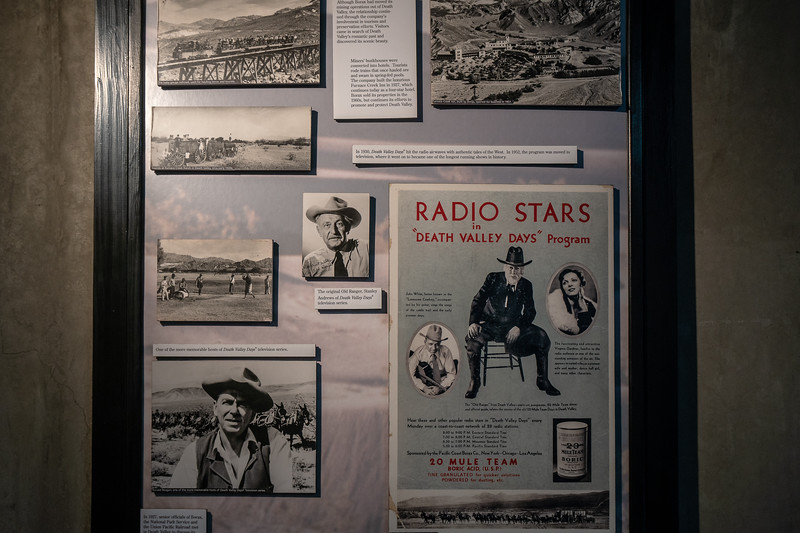 Display showing television program Death Valley Days