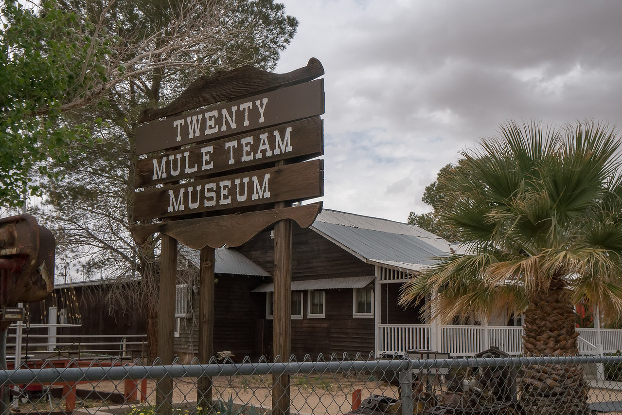 View of the Twenty Mule Team Museum from the corner at Boron Road