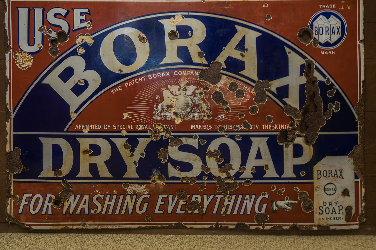 Old Borax Soap sign on display at the Twenty Mule Team Museum