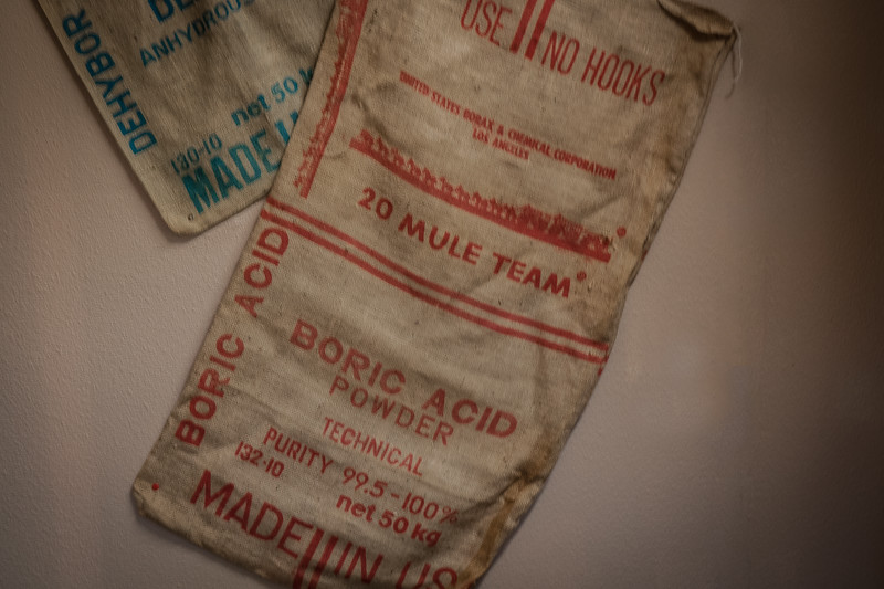 Samples of printing stamps on burlap sacks