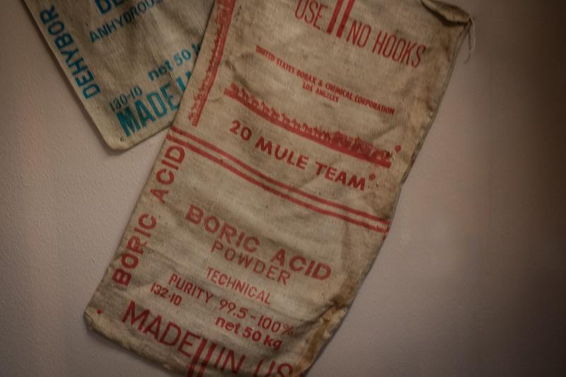Samples of printing stamps on burlap sacks