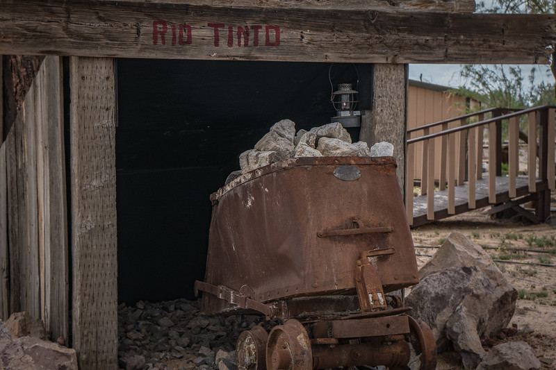 Ore cart on display outside the Twenty Mule Team Museum