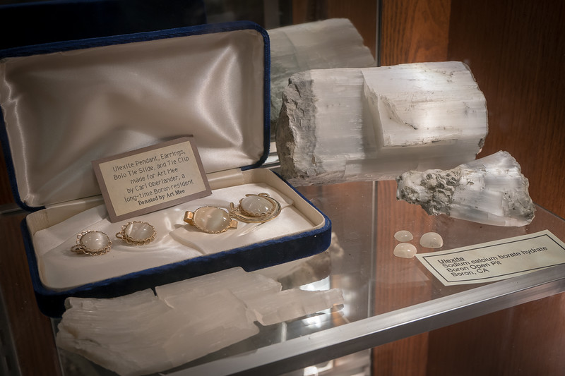 Ulexite jewelry on display at the Twenty Mule Team Museum