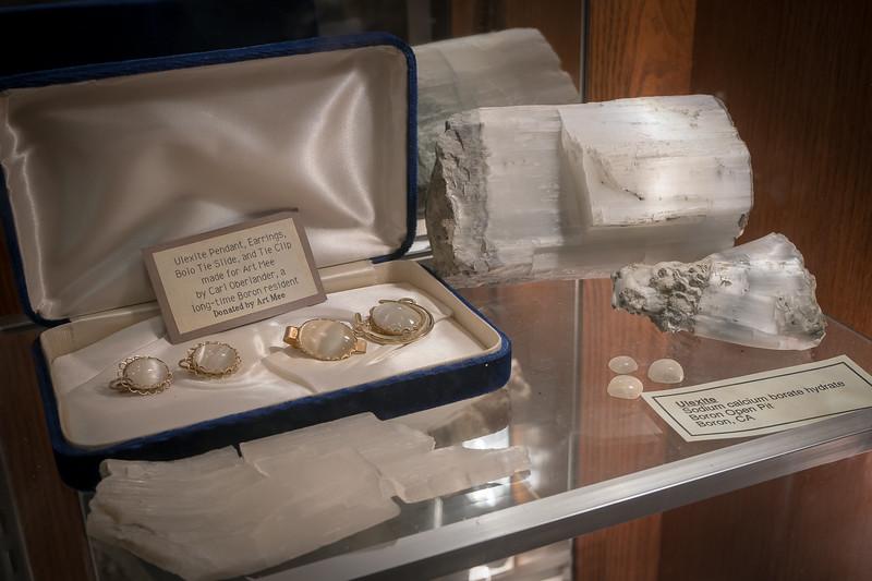 Ulexite jewelry on display at the Twenty Mule Team Museum
