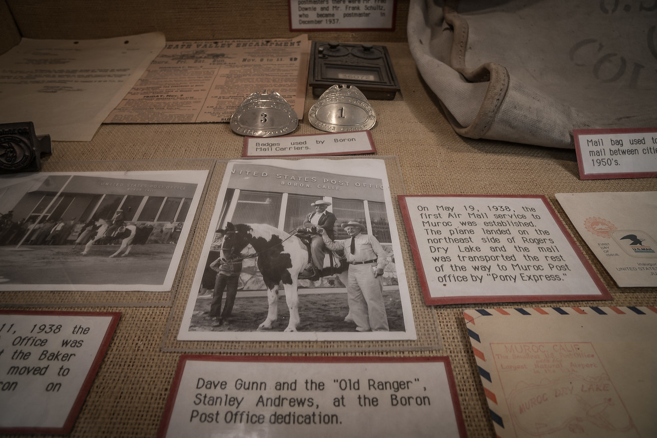 Exhibit featuring the history of the mail service in Boron