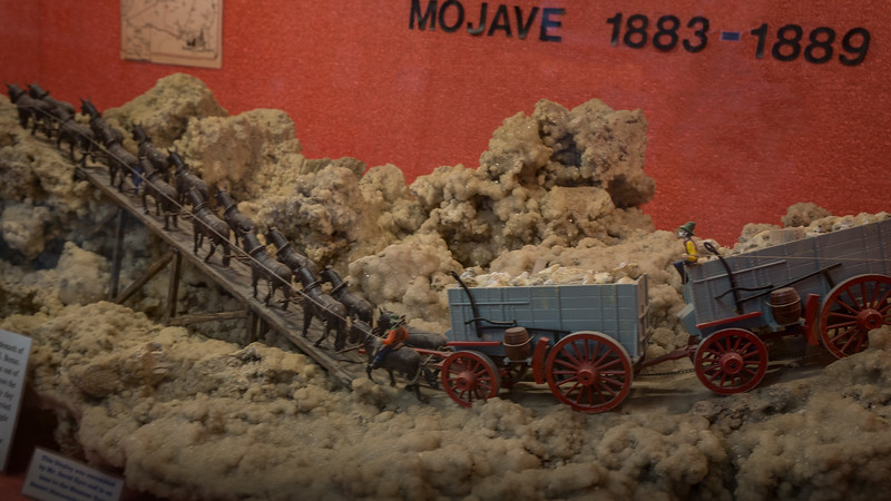 Small model of twenty mule team hauling ore out of Death Valley