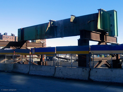 One of the last beams which carried the elevated central artery through Boston awaits demolition.  (February 1, 2004)