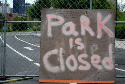 Park is Closed.  North Point Park remained closed to the public for years.  Opening in December 2007.  (Photo taken: July 2, 2007)