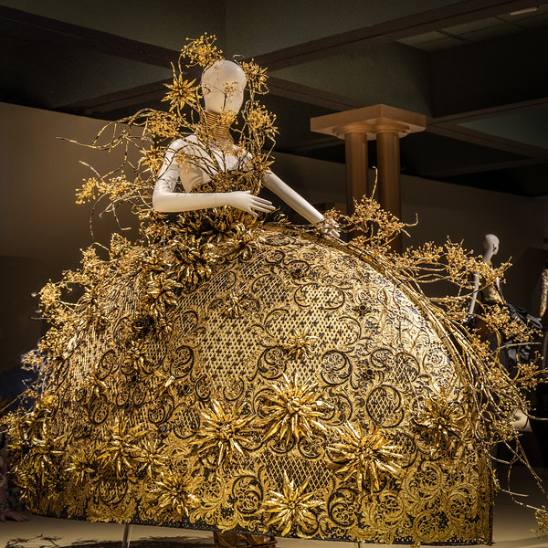 Hand-woven bamboo dress with metal flowers and gold lace