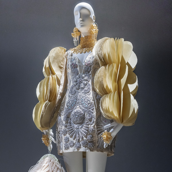 Silk dress embroidered with silver-spun thread, embellished with gemstones and Swarovski crystals