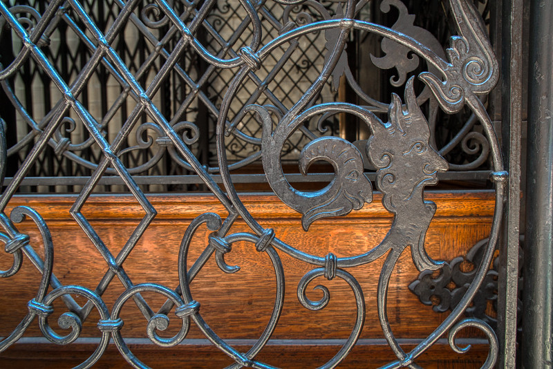 Detail of the elevator gate at the Bradbury Building