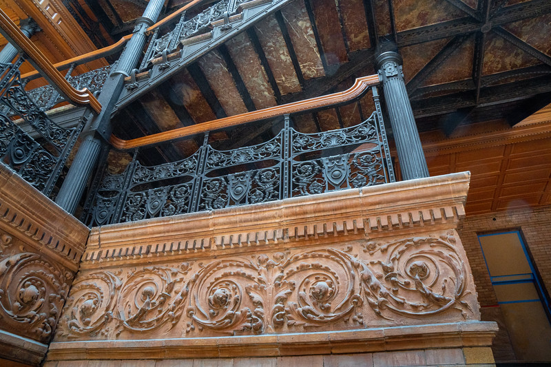 Detail  of stairway landing at the Bradbury Building