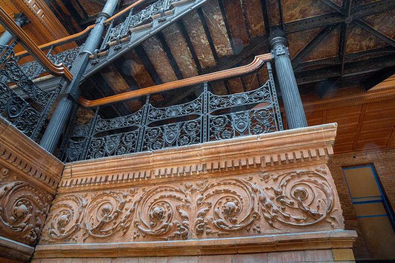 Detail  of stairway landing at the Bradbury Building