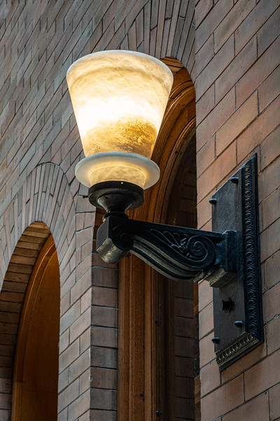 Detail of light fixture in the lobby of the Bradbury Building