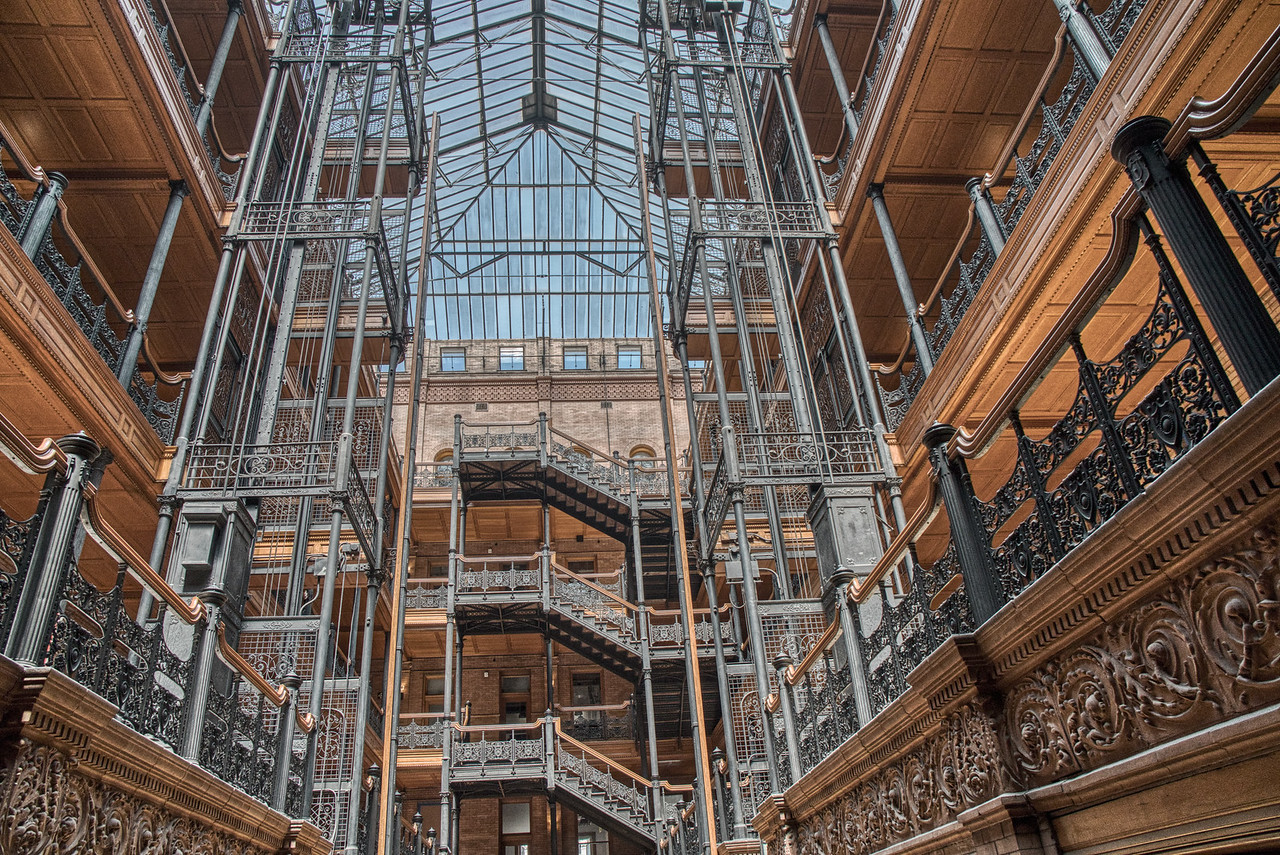 The second floor and above! The Bradbury Building