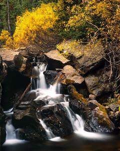 A small cascade along Fall River Road in Rocky Mountain National Park.  Shot on 4x5 Fuji Velvia 50, September 2012.