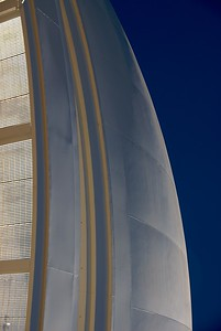 Looking up at the dome of Palomar Observatory, here tipped 90 degrees from reality.  I think this looks rather like a sail.