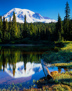 Mount Rainier as seen from Reflection Lakes.
