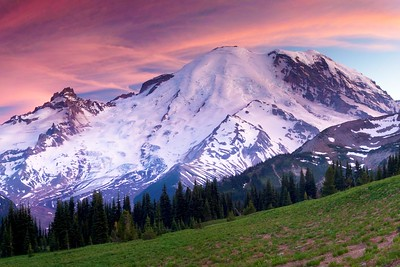 Sunset on Mount Rainier, shot from trailside above Sunrise (on the mountain's northeast side).  This was the shot that convinced me that it's probably best to catch The Mountain just before sunrise or after sunset--it's so bright that it's really tough to capture well in the direct light of daytime, and of course a glowing pink sky makes for excellent light.