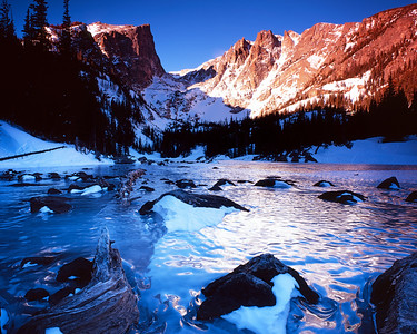 Dream Lake and Hallet Peak, Rocky Mountain National Park, Colorado.  I lucked out a bit this morning.  The wind, which normally just absolutely howls here in the winter, was coming from the southwest, so I got a good deal of shelter from the trees.  This definitely makes for happier fingers!  Usually when I go up to Dream Lake in the winter I have to hide behind a rock to keep from freezing, and I definitely have to bring the heavier tripod.