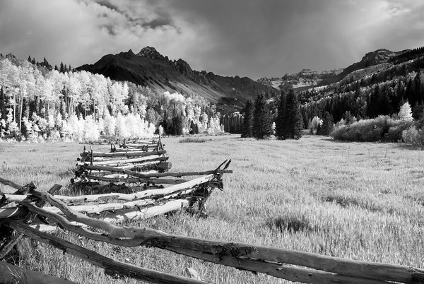 A rather famous fenceline on the road approaching the Blue Lakes Trailhead underneath Mount Sneffels.  It was kind of a hazy day, so I didn't get the color shots I was hoping for, but I think it works really well as a black-and-white image.