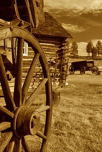 Wagon wheel at a homestead and museum near Florrisant, Colorado.