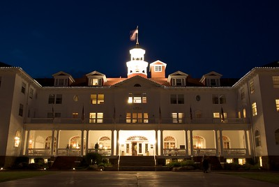 The Stanley Hotel, Estes Park, Colorado in summer 2008 at dusk.