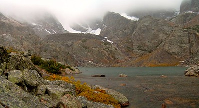 Sky Pond, Rocky Mountain National Park, in early September 2006.  It was a rather blustery day, which made for cold fingers but also very little traffic on the trail.