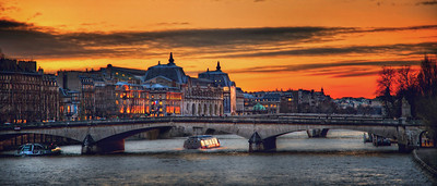 The Bridge Over Seine-ityParis, France  There are times, she mused, that the spoken version of one word perfectly describes the experience of another word, spelled differently.  She pondered how to say that to someone.  Then decided to just enjoy the sunset.    ©Karen Hutton - Creative Commons (CC BY-NC 3.0)