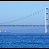 Ship under the Mackinac Bridge
