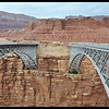 The old Navajo Bridge on the right and the New Navajo Bridge on the Left