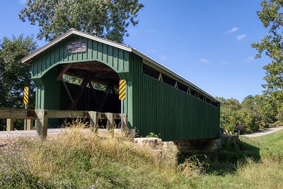 """""""A great photograph is one that fully expresses what one feels, in the deepest sense, about what is being photographed."""" - Ansel Adams  My first visit to this army green covered bridge had me eager. The color obviously is a departure from the typical brick red of many covered bridges in the area. The noisy highway traffic from US35 behind disrupted the creative process a bit however it isn't enough to stop one from taking some nice images."""