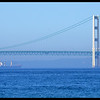 Ship under the Mackinaw Bridge