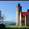 Old Mackinac Point Lighthouse and Mackinaw Bridge