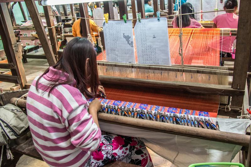 Weaving silk thread into cloth