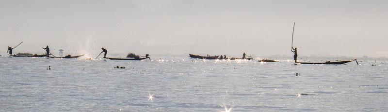 Inle Lake net fishermen at work